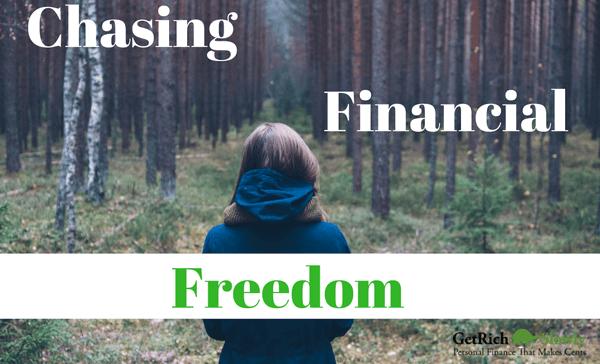 Photo illustration about the choices that lean to financial freedom as shown by a woman walking in the woods