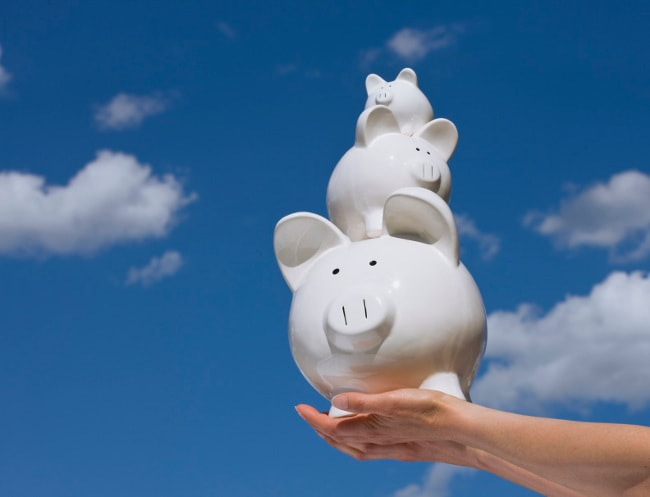 Three piggy banks in the sky