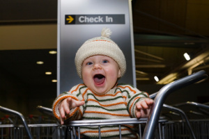 Infant at airport check-in