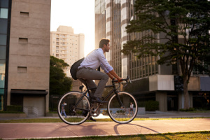 Man commuting to work on bicycle
