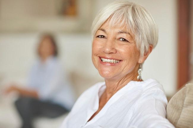Happy retirement-aged woman