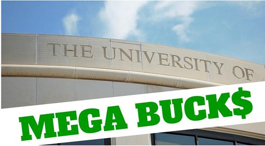 A photo illustration of a fictional university called Big Bucks U.