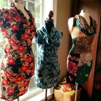 Dress display at Boheme, a Connecticut retail store