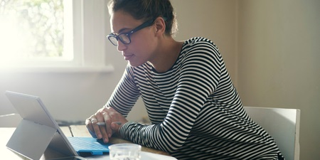 Woman at a computer