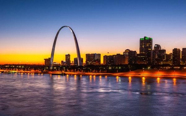 St. Louis skyline at dusk