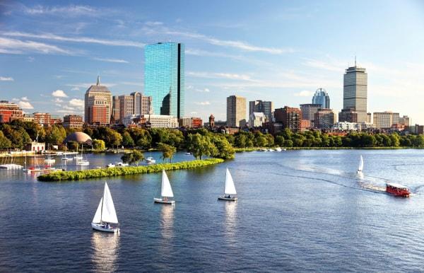 Sailboats in Boston Harbor