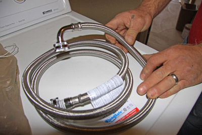 Braided, steel washing machine hoses with brass fittings.