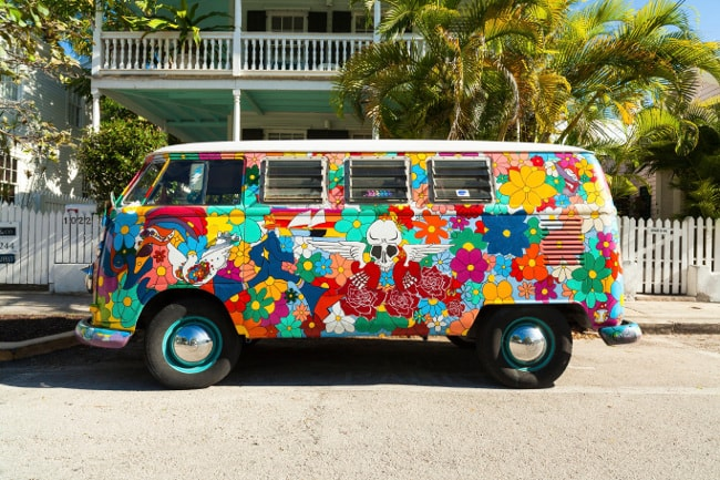 Volkswagen mini van with colorful psychedelic painting