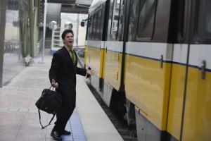 Man yells at passing train