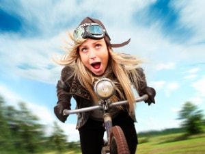 Crazy cyclist having fun