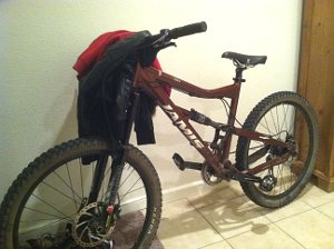 Mountain bike/coat rack