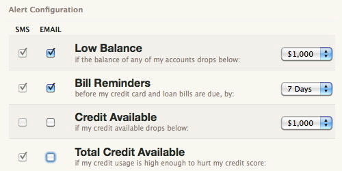 Mint can alert you if your account balances get too low.