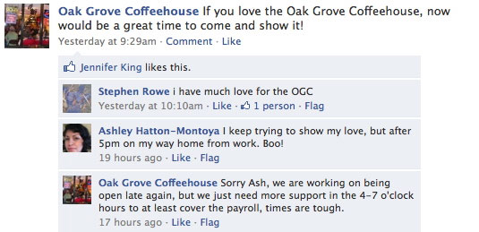 The Oak Grove Coffeehouse needs your love!