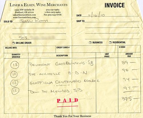 Wine invoice