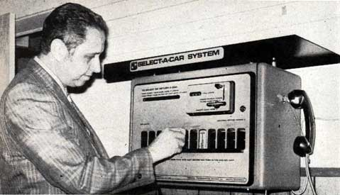 [photo of the Select-A-Car System, which looks like a cross between a phone booth and a vending machine]