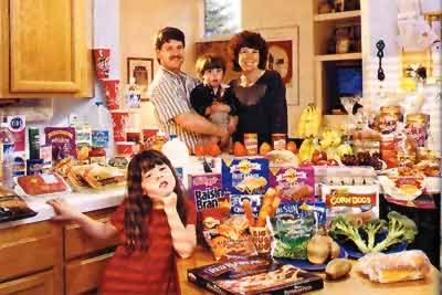 [photo of American family with a lot of pre-packaged food]