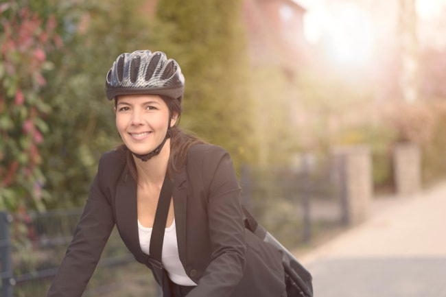 Female bicycle commuter