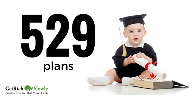 Baby in graduation gown, holding a diploma for an article on 529 plans