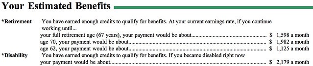 My estimated Social Security benefits