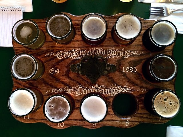 Beer taster platter in northern California