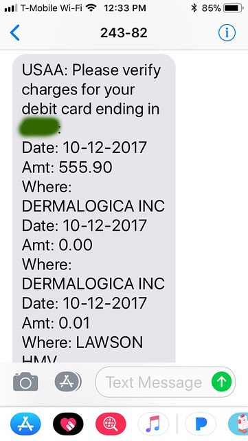 Text fraud alert