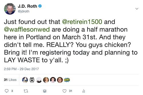 Half marathon tweet