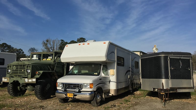 The RV in storage in Savannah
