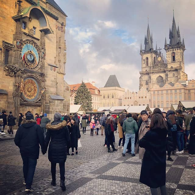 The old town square and astronomical clock in Prague