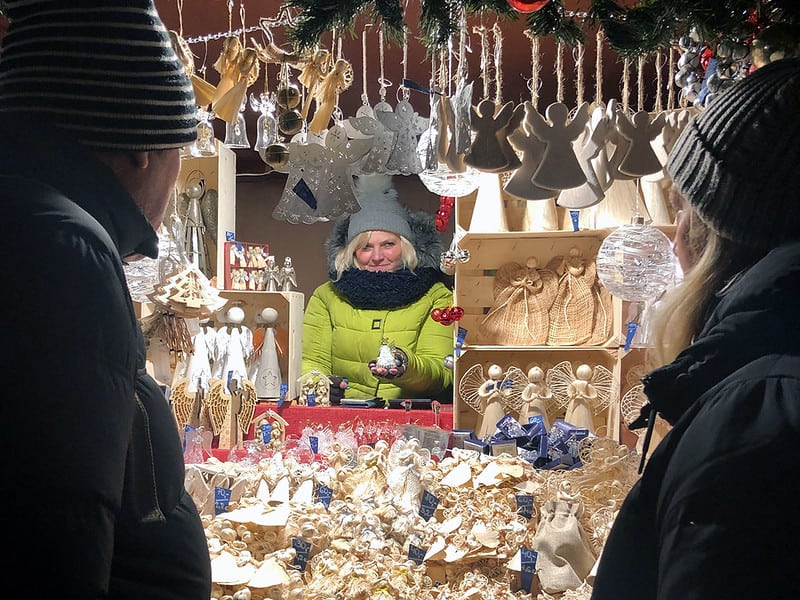 Shopping at a Christmas market in Prague