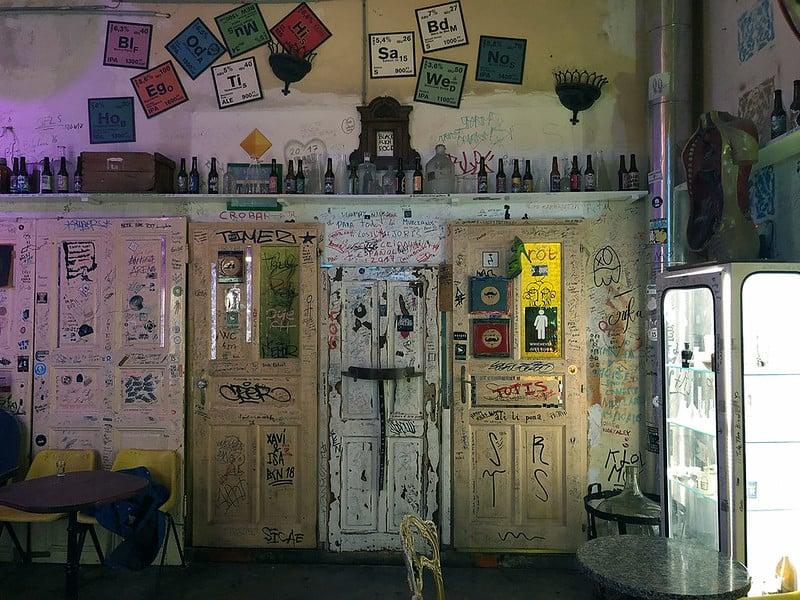 One corner of Szimpla Kert, a ruin bar in Budapest