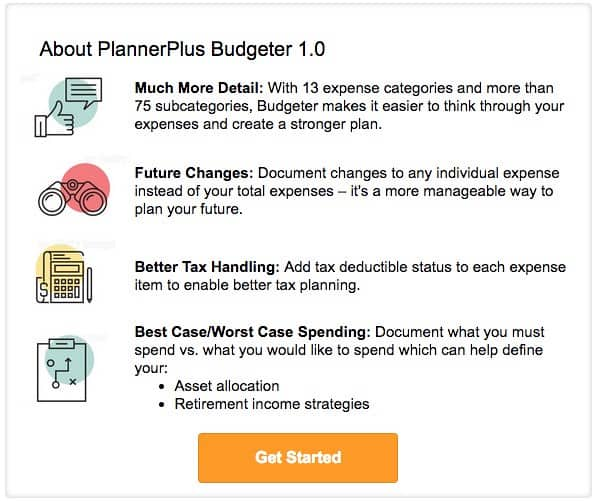 NewRetirement budgeter features