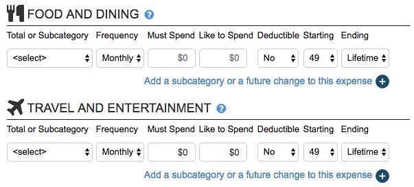 NewRetirement budgeter detail