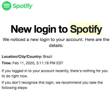 Security warning from Spotify