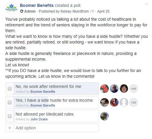 Sondage auprès des personnes qui travaillent à la retraite