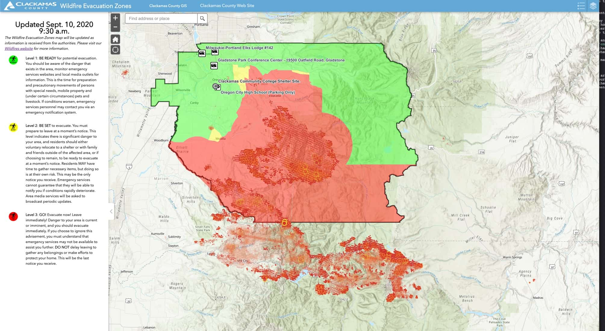 Map of the wildfires in our county